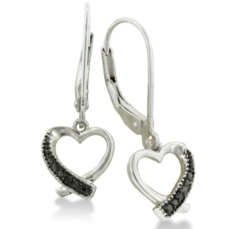Black Diamond Dangle Heart Earrings