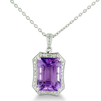 Huge 7ct Amethyst and Diamond Pendant in Sterling Silver