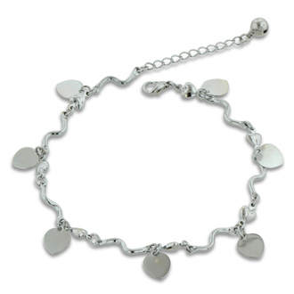 Dangle Heart and Jingle Bell Charm Bracelet Anklet.  Crafted in Copper and Zinc.