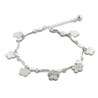 Dangle Flower and Jingle Bell Charm Bracelet Anklet.  Crafted in Copper and Zinc.