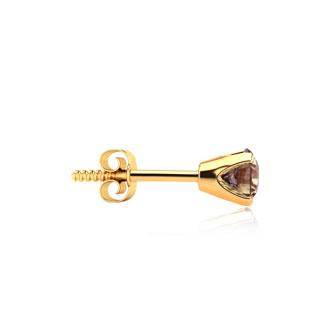 1/2 Carat Chocolate Bar Brown Champagne Diamond Stud Earrings in Yellow Gold