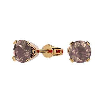 3/4ct Chocolate Bar Brown Champagne Diamond Stud Earrings in 14k Yellow Gold