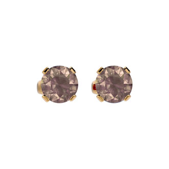 3/4 Carat Chocolate Bar Brown Champagne Diamond Stud Earrings in 14 Karat Yellow Gold