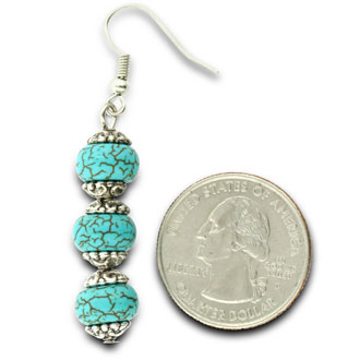 Trendy Three Stone Turquoise Drop Dangle Earrings