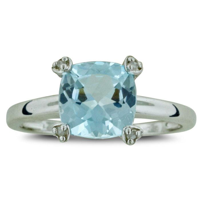 2.5 Carat Cushion Cut Blue Topaz & Diamond Ring in Sterling Silver