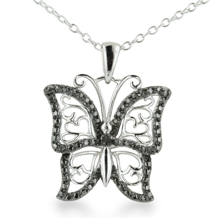 Black Diamond Butterfly Heart Necklace in Sterling Silver by Hans