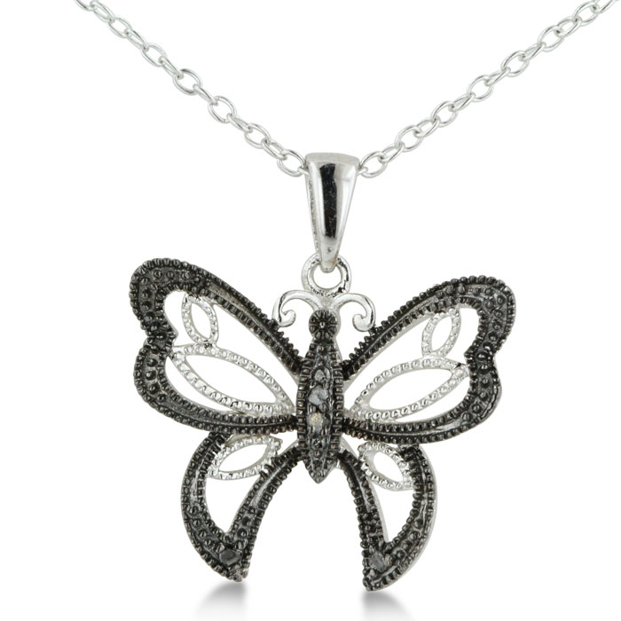 Vintage Inspired Black Diamond Butterfly Necklace in Sterling Silver by SuperJeweler