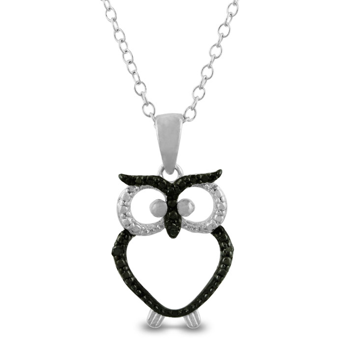Trendy Black Diamond Owl Necklace in Sterling Silver by SuperJeweler