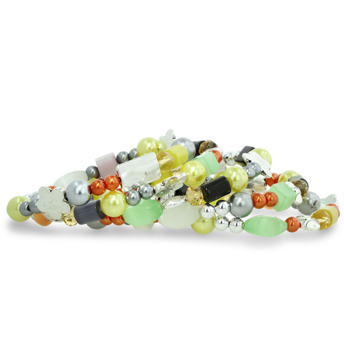 Beachy Multi-Colored Pastel Stone Spiral Wrap Bracelet, 8.5 Inch