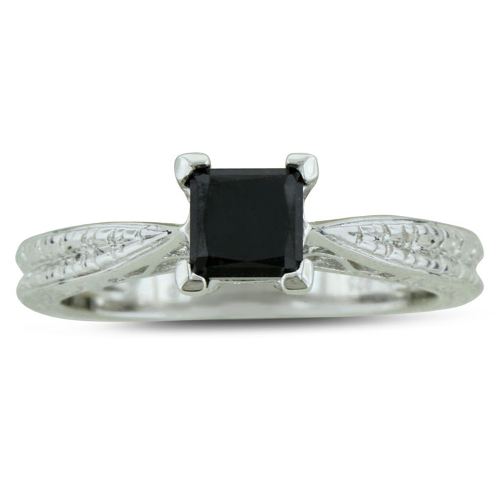 3/4 Carat Princess Cut Black Diamond Solitaire Antique Model Engagement Ring in Sterling Silver by SuperJeweler