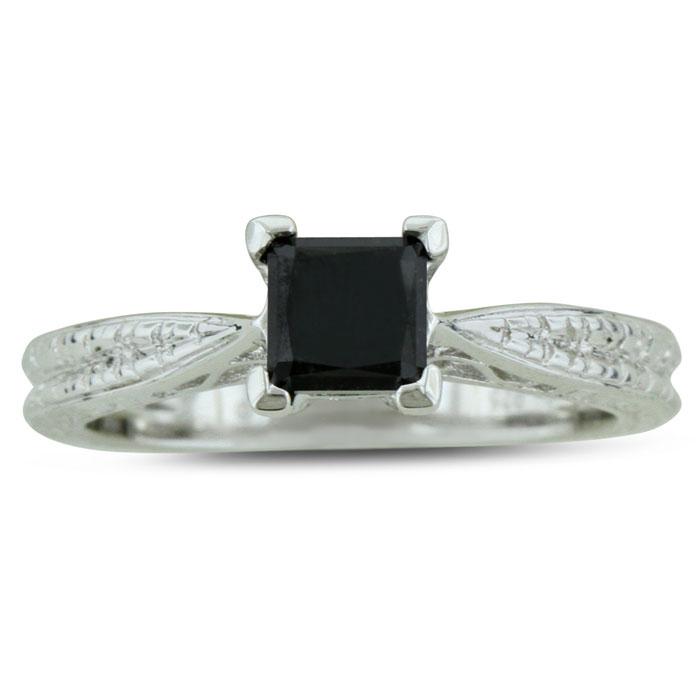 3/4 Carat Princess Cut Black Diamond Solitaire Antique Model Enga