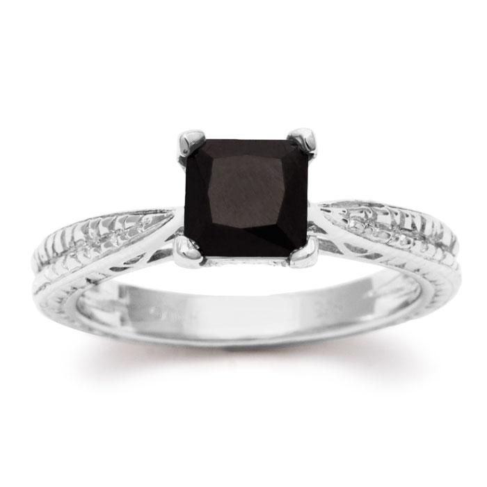 1ct Princess Cut Black Diamond Solitaire Antique Model Engagement ...