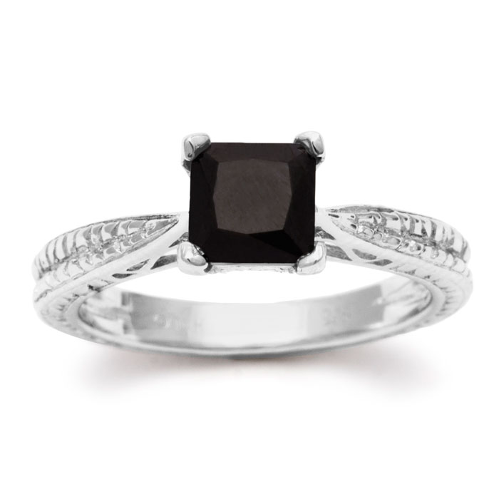 1 Carat Princess Cut Black Diamond Solitaire Antique Model Engagement Ring in Sterling Silver by Hansa