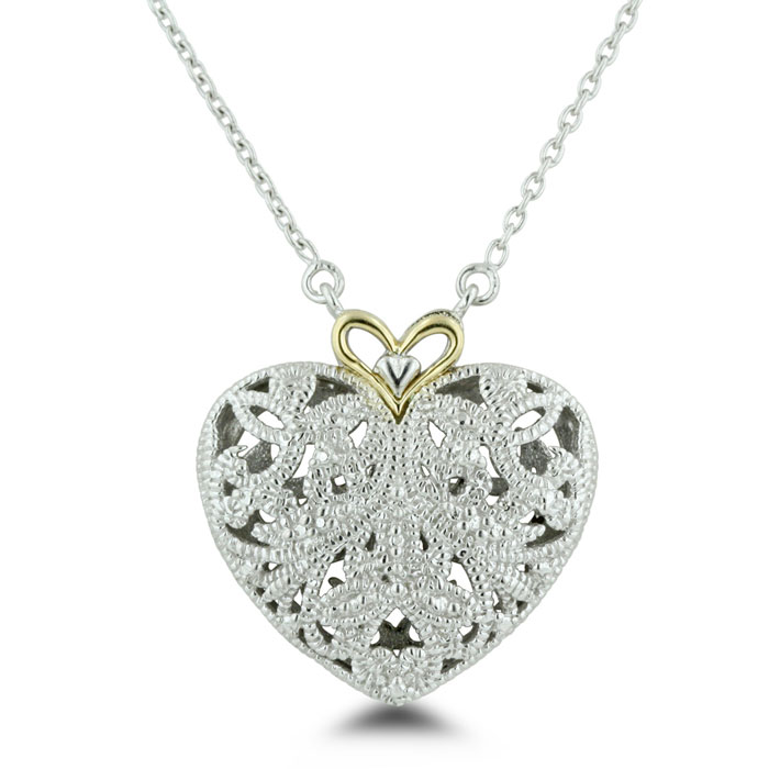 Filigree Heart Necklace in Sterling w/ 14K Yellow Gold (6.5 g) Accent,  18 Inch Chain in Sterling Silver by SuperJeweler