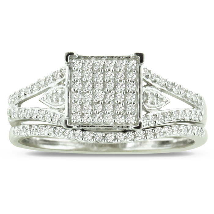 1/3 Carat Diamond Princess Cut Bridal Engagement Ring Set in Ster