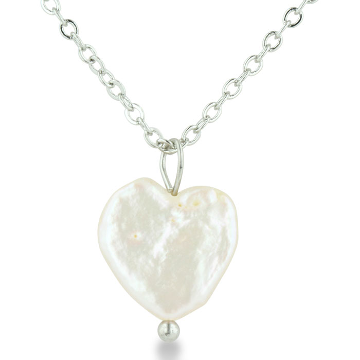 Heart Shaped Natural Freshwater Pearl On 18 Inch Silver Plated Ne