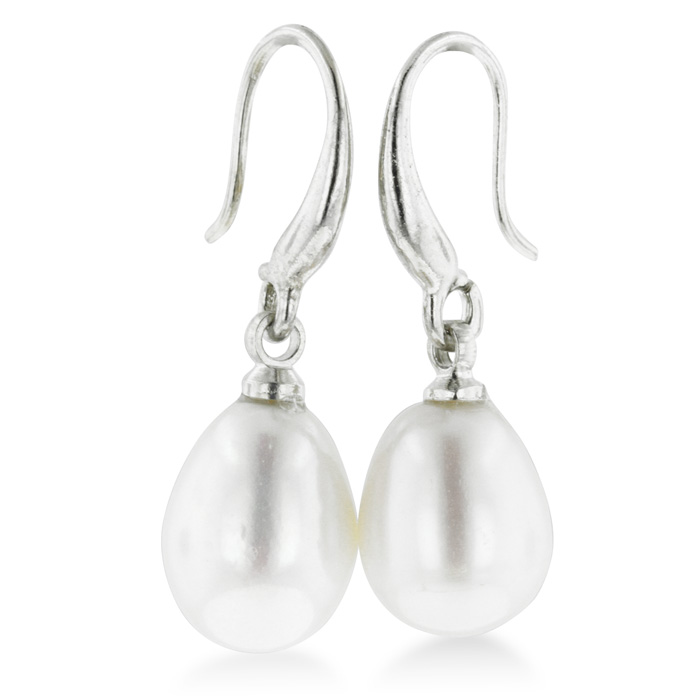 Huge 8-9mm Solitaire White Drop Freshwater Pearl Dangle Earrings