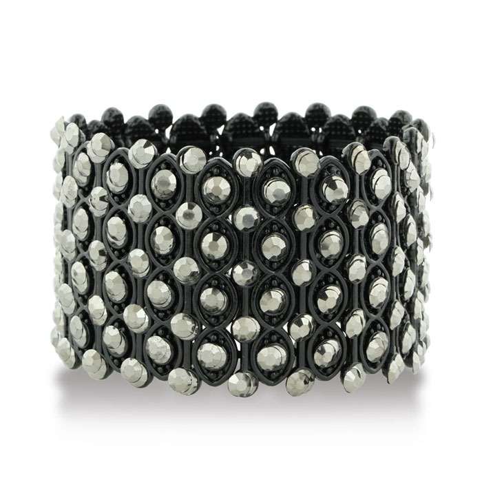 Chunky Super Wide Crystal Studded Mesh Black Cuff Bracelet by Sup