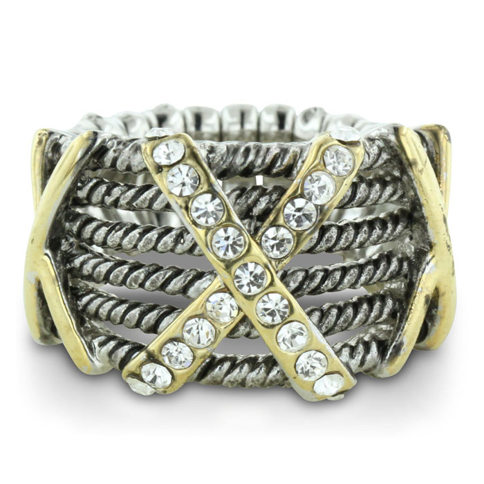 Silver Tone Stretch Twisted Cable Ring w/ Crystal Studded X Accen