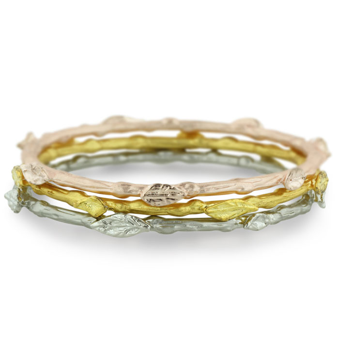 Bohemian Designer Leaf Bangle Bracelet Set. Rose, Silver & Gold T