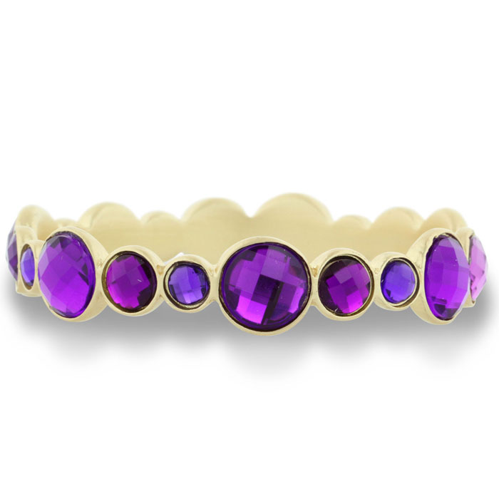 Round Bezel Gold (31 g) Tone Bangle Bracelet w/ Shimmering Purple
