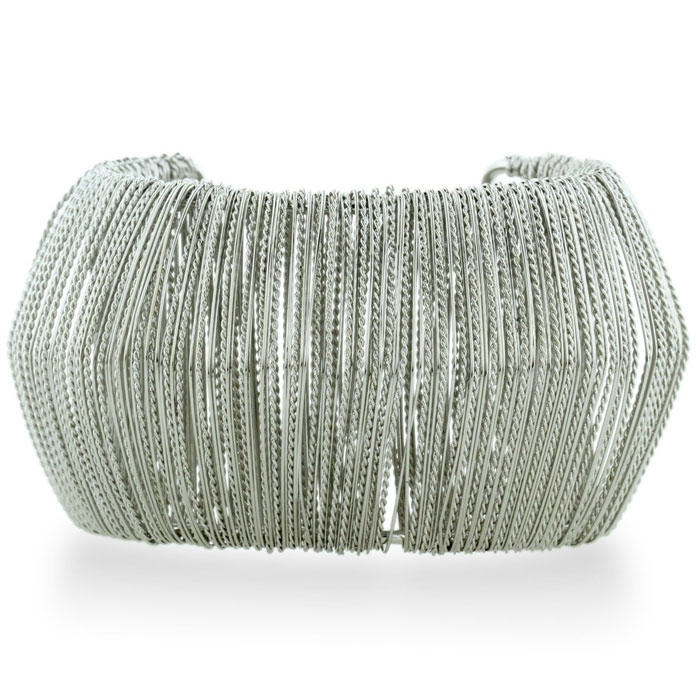 Futuristic Wire Wrapped Chunky Silver Plated 1 3/4 Inch Cuff Brac