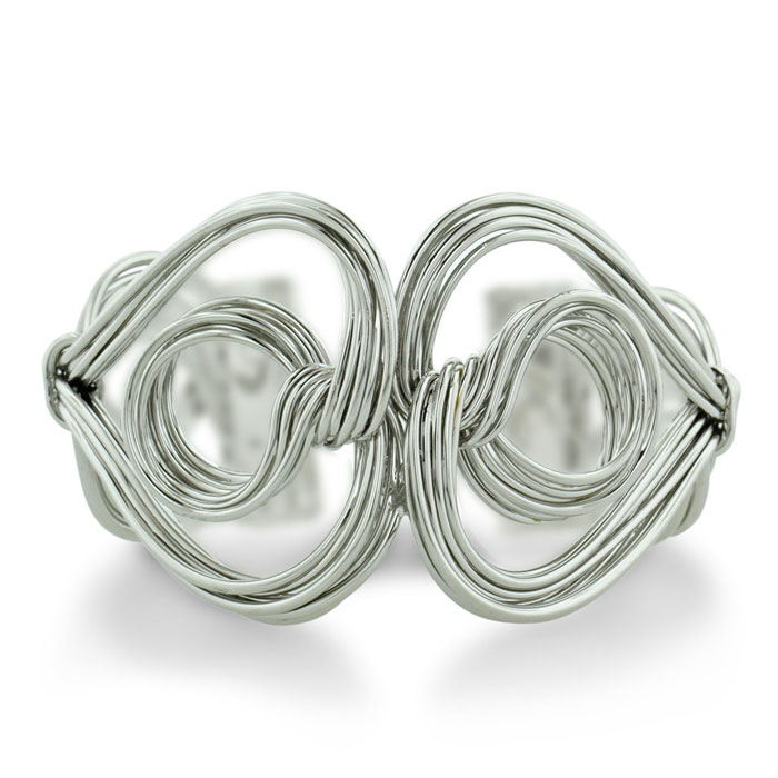 Beautifully Crafted Twisted Solid Wire Double Heart & Circle 1.5