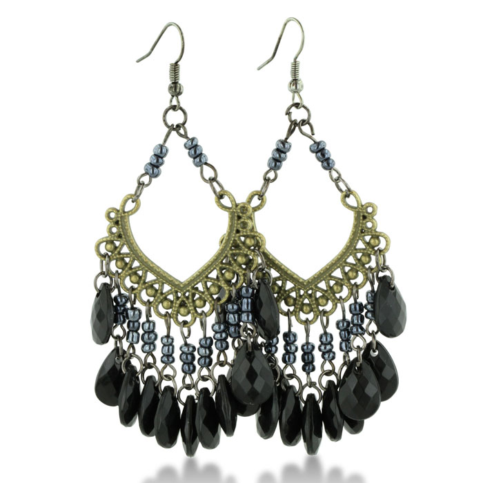 Vintage Inspired Black Faceted Beaded Gold Tone 3 Inch Chandelier Earrings