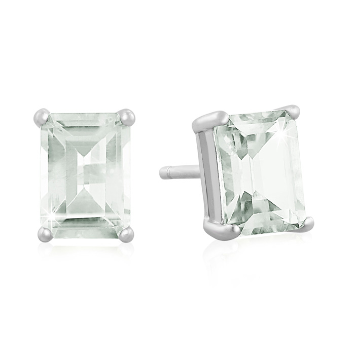 2.5 Carat Green Amethyst Earrings in Sterling Silver by SuperJewe