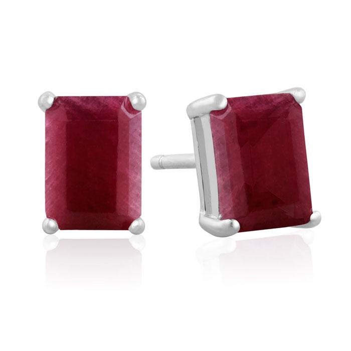 3 Carat Emerald Cut Ruby Earrings Red Gemstones July Birthstone Best Jewelry Deals