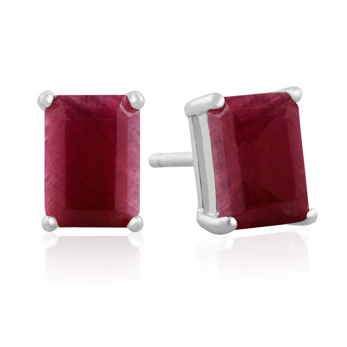 3 Carat Natural Indian Ruby Earrings in Sterling Silver by SuperJ