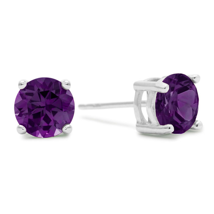 2 Carat Round Purple Amethyst Earrings in Sterling Silver by Supe