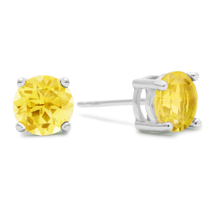 2 Carat Round Citrine Earrings in Sterling Silver by SuperJeweler