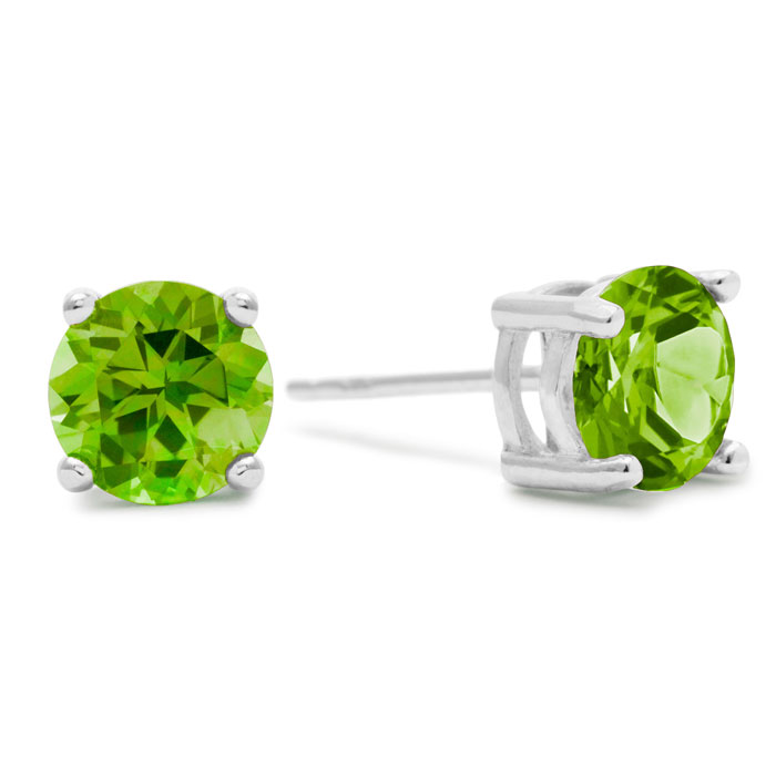 2 Carat Round Peridot Earrings in Sterling Silver by SuperJeweler