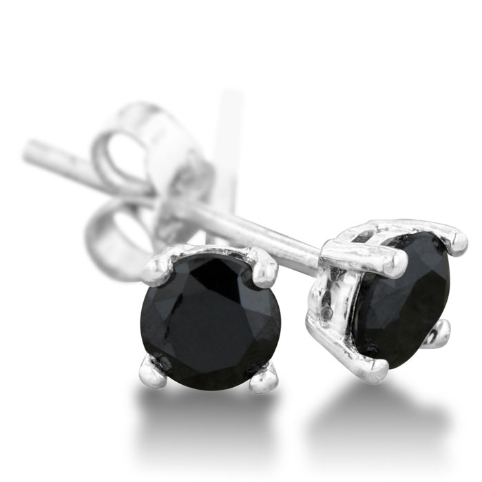 1/2 Carat Certified Black Diamond Stud Earrings in Sterling Silve