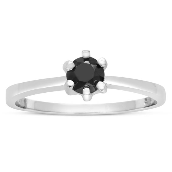 1/2 Carat Black Diamond Ring in Sterling Silver by Hansa
