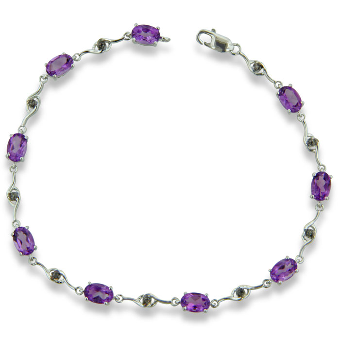 4 Carat Amethyst & Black Diamond Bracelet in Sterling Silver, 7 I
