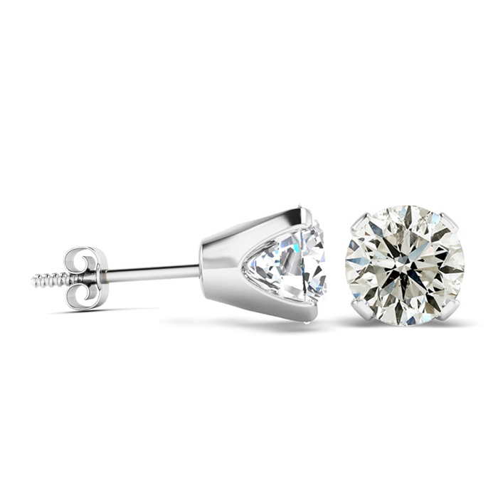 2 Carat Diamond Stud Earrings Set in 14K White Gold, I-J, I2-I3,