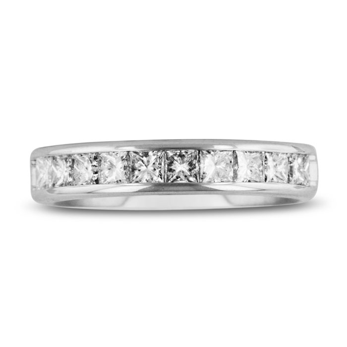 1 Carat Channel Set Diamond Comfort Fit Anniversary Wedding Band Ring in 14k White Gold (4 g), GH VSI, G/H by SuperJeweler