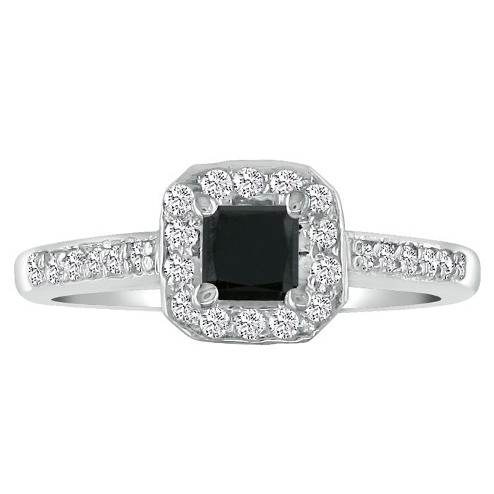 Hansa 1 Carat Black Diamond Princess Cut Engagement Ring in 14k White Gold (H-I, SI2-I1)