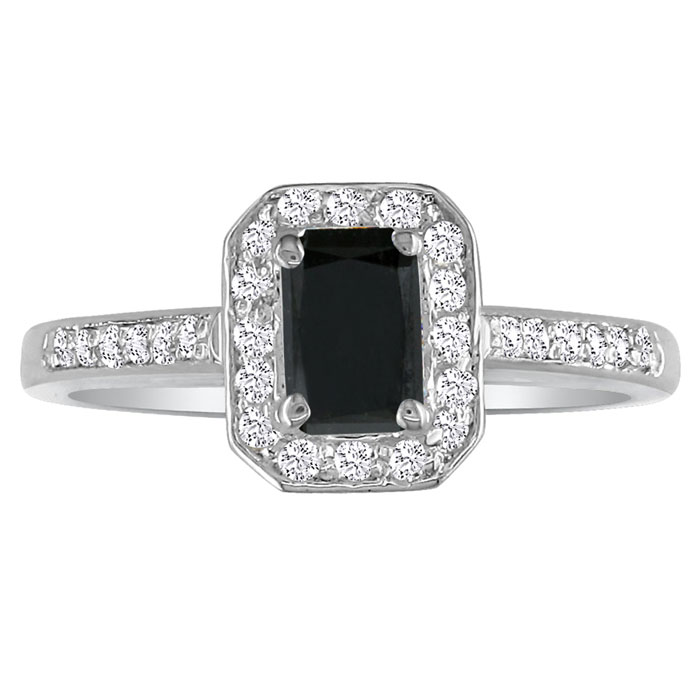2 Carat Black Emerald Cut Diamond Halo Engagement Ring in 14k Whi