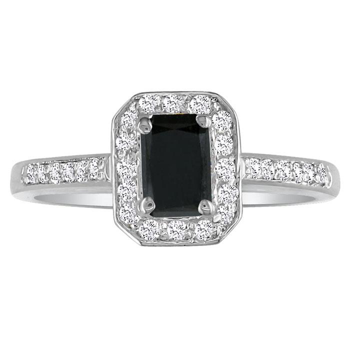 Hansa 3 Carat Black Diamond Emerald Cut Engagement Ring in 18k Wh