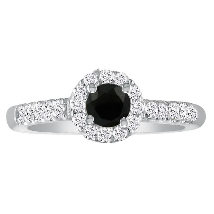 2 1/4 Carat Black Round Diamond Halo Engagement Ring in 14k White Gold (H-I, SI2-I1) by SuperJeweler