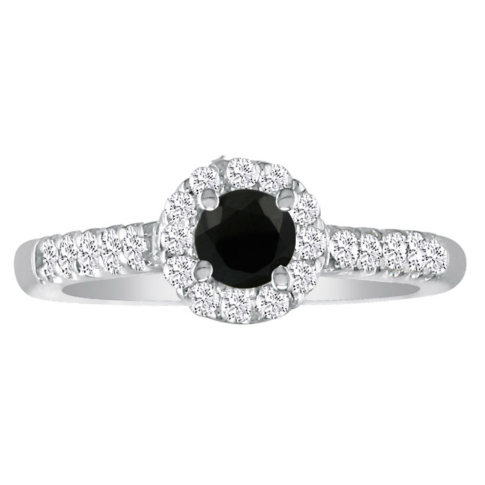 1 Carat Round Black Diamond Engagement Ring in 18k White Gold, I-