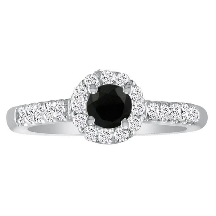 1 3/4 Carat Black Round Diamond Halo Engagement Ring in 18k White Gold (H-I, SI2-I1) by Hansa