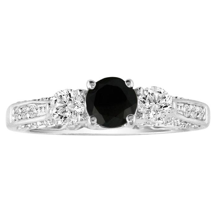 Hansa 1 Carat Black Diamond Round Engagement Ring in 14k White Gold (H-I, SI2-I1)