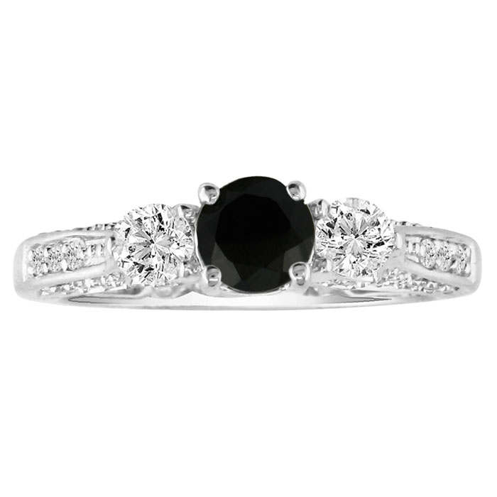 1.5 Carat Black Diamond Round Engagement Ring in 14k White Gold, ,  by Super..