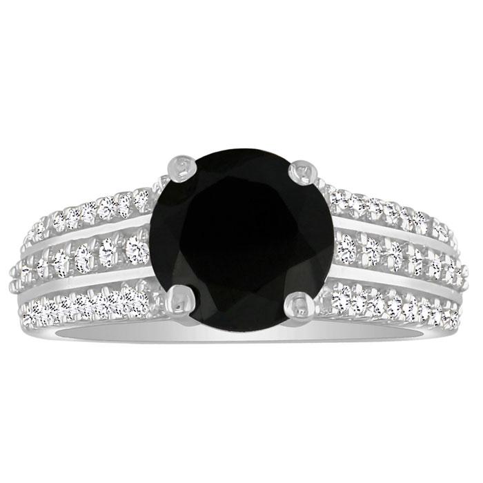 Hansa 1 1/3 Carat Black Diamond Round Engagement Ring in 14k White Gold (H-I, SI2-I1)