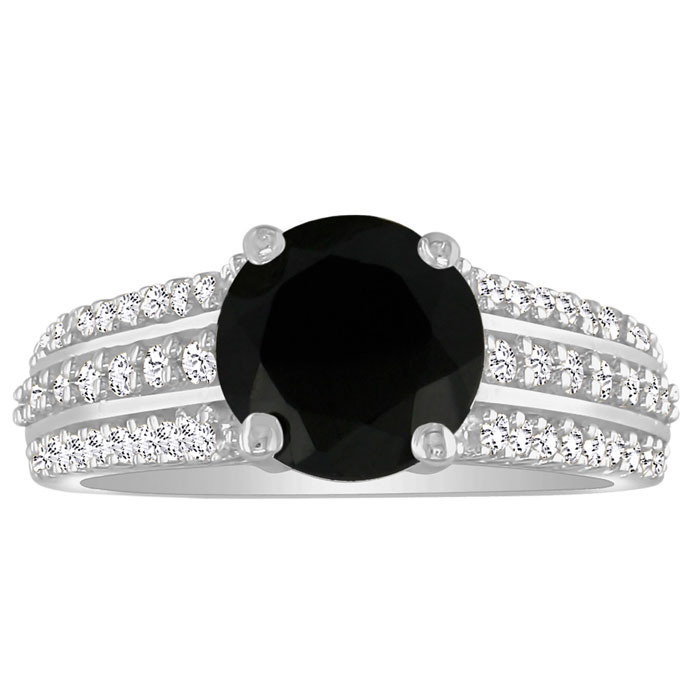 Hansa 2 Carat Black Diamond Round Engagement Ring in 14k White Gold, I-J, I2-I3