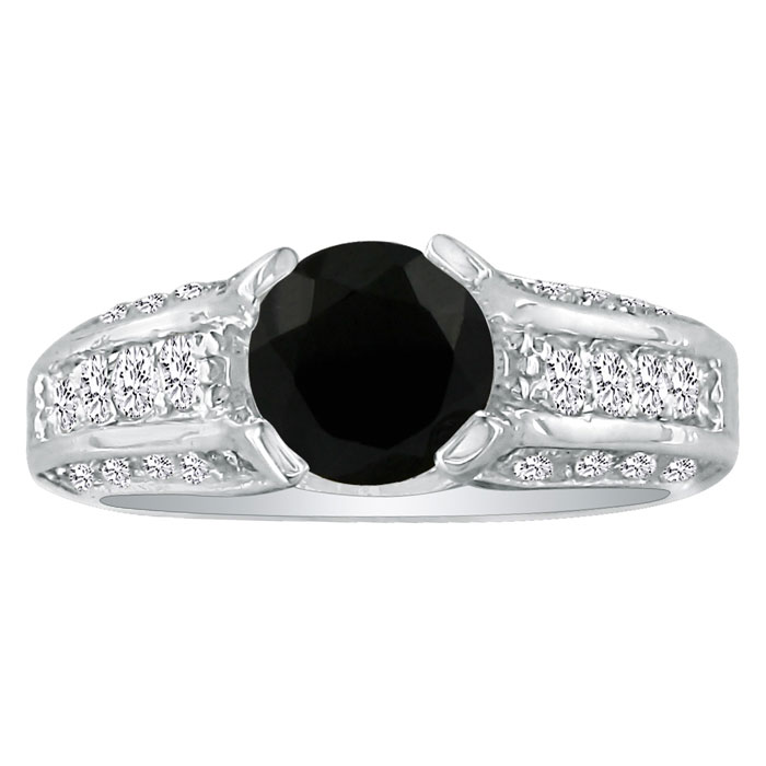 Image of Hansa 1 3/4ct Black Diamond Round Engagement Ring in 18k White Gold, H-I, I2-I3 , Available Ring Sizes 4-9.5